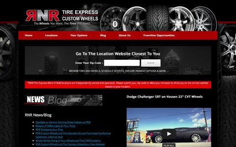 Screenshot of Home Page rnrwheels.com - Home | RNR Tire Express | Custom Wheels - captured Feb. 2, 2016