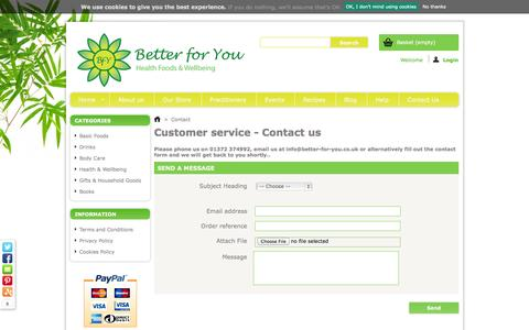 Screenshot of Contact Page better-for-you.co.uk - Contact us - captured Oct. 5, 2014