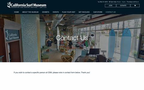 Screenshot of Contact Page surfmuseum.org - Contact Us - California Surf Museum - captured July 12, 2017