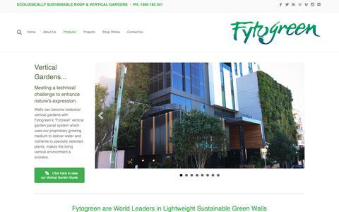 Screenshot of Products Page fytogreen.com.au - Vertical Gardens - Fytogreen Australia - captured Oct. 11, 2018