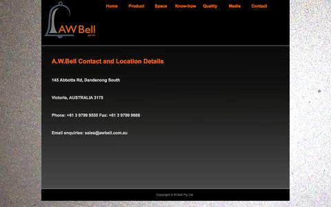Screenshot of Contact Page awbell.com - A.W.BELL International Site - Aerospace and Defence Castings - Home of the ABE Casting Process - captured Oct. 1, 2014