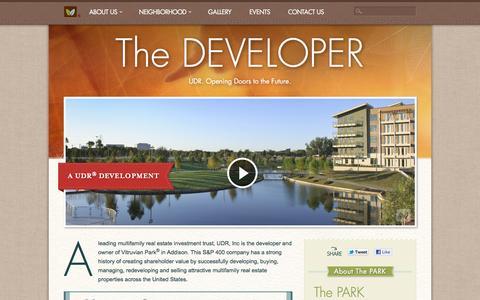 Screenshot of Developers Page vitruvianpark.com - Vitruvian Park® in Addison - The Developer - captured May 22, 2016