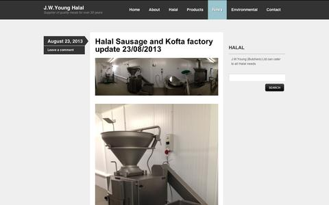 Screenshot of Press Page wordpress.com - News | J.W.Young Halal | Supplier of quality meats for over 30 years - captured Sept. 12, 2014