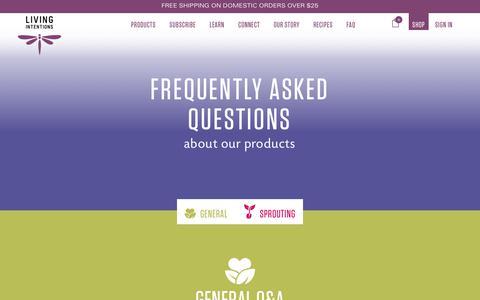 Screenshot of FAQ Page livingintentions.com - FAQ | Living Intentions - captured July 21, 2018