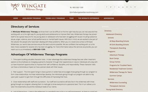 Screenshot of Services Page wingatewildernesstherapy.com - Directory - captured Jan. 8, 2017