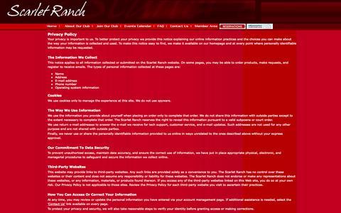 Screenshot of Privacy Page scarletranch.com - Scarlet Ranch ~ Colorado Swingers; Denver Sex Club - captured Oct. 3, 2014