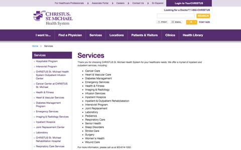 Screenshot of Services Page christusstmichael.org - Services - captured June 16, 2016