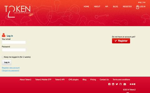 Screenshot of Login Page token2.com - TOKEN2 | Simple two factor authentication for your website - captured Sept. 30, 2014