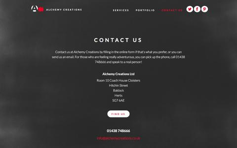 Screenshot of Contact Page alchemycreations.co.uk - Contact Us - captured Feb. 5, 2016