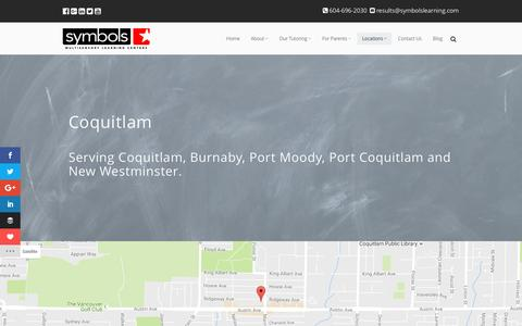 Screenshot of Locations Page symbolslearning.com - Coquitlam Location • Symbols Multisensory Learning Centers Inc. - captured Dec. 1, 2016