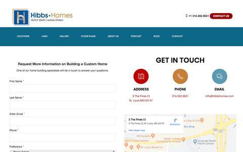 Screenshot of Contact Page hibbshomes.com - Contact Hibbs Homes   Hibbs Homes, St Louis Home Builder - captured Nov. 11, 2019