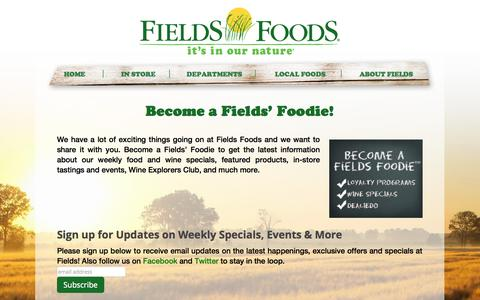 Screenshot of Signup Page fieldsfoods.com - Fields Foods  Your Local Farm Fresh Grocery Store - captured Oct. 27, 2014