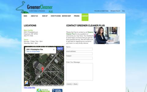 Screenshot of Contact Page greenercleanerplus.com - Greener Cleaner Plus! - Contact Us - captured Sept. 30, 2014