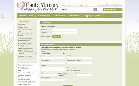 Screenshot of Login Page plantamemory.com - Seedling favors, flower, tree, herb seed guest gifts for weddings, baby & bridal showers, birthdays, baptism, bat mitzvah, memorial, coporate events - captured April 9, 2017