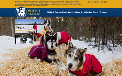 Screenshot of Home Page muktuk.com - Muktuk Adventures Sled Dog Adventures — Yukon Dog Mushing and Bed & Breakfast - captured Oct. 7, 2014