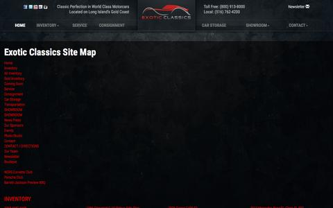 Screenshot of Site Map Page exoticclassics.com - Exotic and Classic Car Dealership specializing in Ferrari, Porsche, Chevrolet and collector cars. - captured May 22, 2017