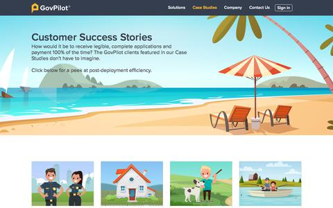 Screenshot of Case Studies Page govpilot.com - GovPilot Case Studies - captured July 14, 2019