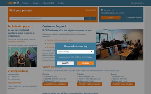 Screenshot of Support Page bioke.com - Customer support team BIOKÉ - BIOKÉ - captured July 31, 2018