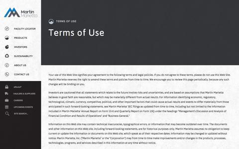 Screenshot of Terms Page martinmarietta.com - Martin Marietta Materials - Terms of Use - captured Nov. 27, 2016