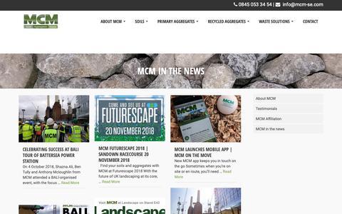 Screenshot of Press Page mcm-se.com - Bulk Top Soil Supplier, MCM - captured Nov. 11, 2018