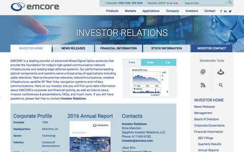 Investor Relations | EMCORE Corporation