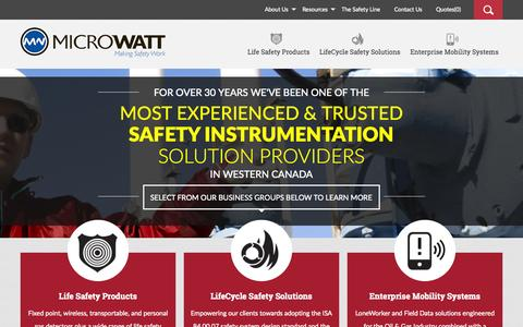 Screenshot of Home Page microwatt.com - Gas Detection, Fire Gas LifeCycle Safety, Oil Gas Mobility - Alberta, British Columbia, Saskatchewan - MicroWatt - captured Sept. 6, 2015