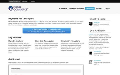 Screenshot of Developers Page inspirecommerce.com - Payments For Developers | Inspire Commerce - captured July 4, 2016