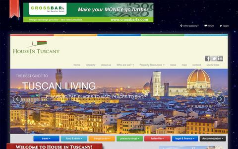 Screenshot of Home Page houseintuscany.com - Houses for Sale in Tuscany | Accommodation in Tuscany | Italian Law | 360 Degree approach to Italian Relocation - captured Jan. 21, 2015