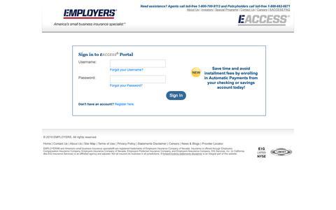 Screenshot of Login Page employers.com - EACCESS Login | EMPLOYERS Insurance - captured June 11, 2019