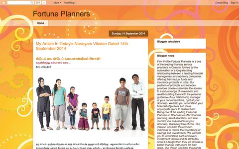 Screenshot of Home Page Blog fortuneplanners.blogspot.in - Fortune Planners - captured Oct. 9, 2014