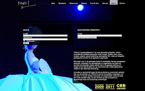 Screenshot of Login Page finale.be - Finale Events |  | Finale.be - captured Oct. 5, 2014