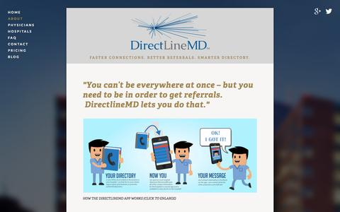 Screenshot of About Page directlinemd.com - About — DirectLineMD :: Physician Marketing :: Physcian Allignment :: DirectLineMD App for iPhone and Android - captured Oct. 29, 2014