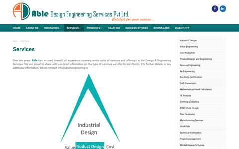 Screenshot of Services Page abledesigneering.in - Services - Able Design Engineering Services Pvt. Ltd. | REVERSE ENGINEERING SERVICES & INSPECTION SERVICES - captured Oct. 7, 2017