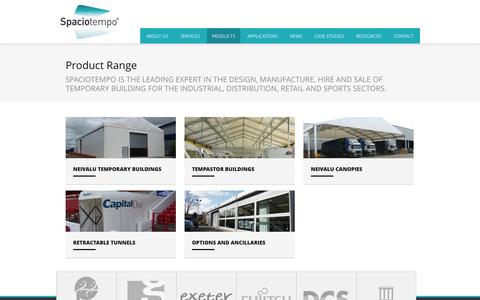 Screenshot of Products Page spaciotempo.co.uk - Product Range   Temporary Buildings & Warehouses - captured Oct. 7, 2014