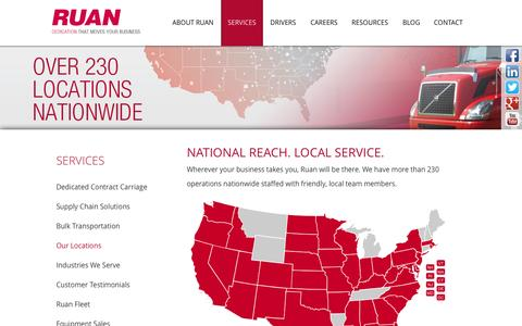 Screenshot of Locations Page ruan.com - Our Locations - Ruan Transportation Management Systems - captured Oct. 6, 2014