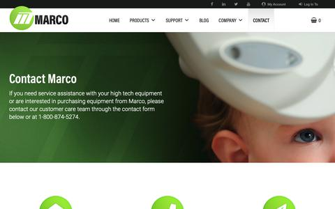 Screenshot of Contact Page marco.com - Contact » Marco Ophthalmic - captured May 25, 2019