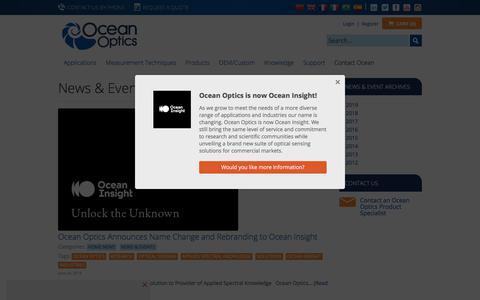 Screenshot of Press Page oceanoptics.com - News & Events | Ocean Optics - captured Nov. 2, 2019