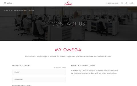 Screenshot of Contact Page omegawatches.com - Customer Login  | OMEGA US® - captured Aug. 22, 2019