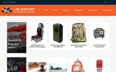 Screenshot of Products Page lifesupportintl.com - Collections – Life Support International, Inc. - captured Nov. 10, 2018