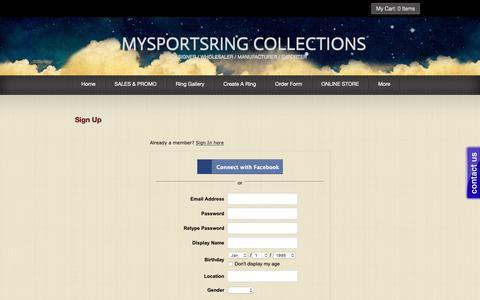 Screenshot of Signup Page mysportsring.com - Signup - captured Oct. 18, 2018