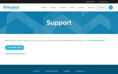 Screenshot of Support Page bigswitch.com - Customer Support | Big Switch Networks, Inc. - captured Feb. 18, 2020