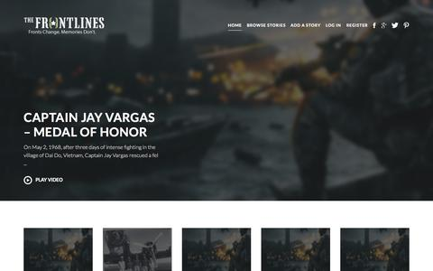 Screenshot of Home Page thefrontlines.com - The Frontlines | Veterans Share Their Stories - captured Aug. 15, 2015