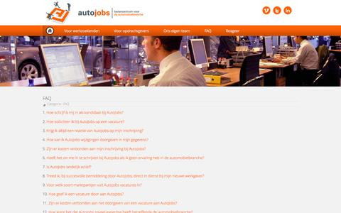 Screenshot of FAQ Page autojobs.nl - autojobs | banencentrum voor de automobielbranche - captured Oct. 4, 2014