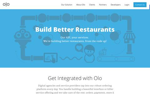 Screenshot of Developers Page olo.com - Olo | Developer Resources - captured Sept. 17, 2014