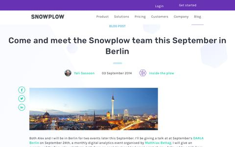 Screenshot of Team Page snowplowanalytics.com - Come and meet the Snowplow team this September in Berlin - captured Feb. 10, 2020