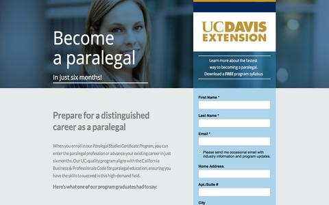Screenshot of Landing Page ucdavis.edu - Become a Paralegal in just six months - captured July 24, 2017