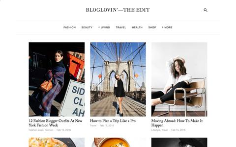 Screenshot of Blog bloglovin.com - Bloglovin'—the Edit - captured Feb. 15, 2016
