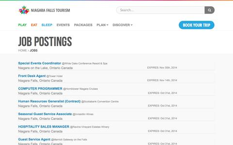 Screenshot of Jobs Page niagarafallstourism.com - Job Postings | Niagara Falls Tourism - captured Oct. 26, 2014
