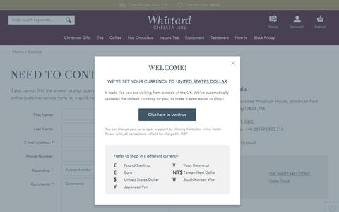 Screenshot of Contact Page whittard.co.uk - Contact | Whittard of Chelsea - captured Nov. 28, 2016
