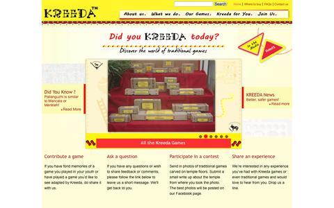 Screenshot of Home Page kreedagames.com - Kreeda Games - captured Sept. 16, 2014